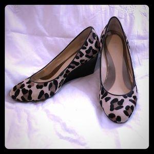 EUC Calvin Klein calf hair leopard print wedges 7M